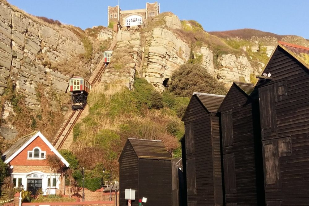 Hasting funicular railway & fishermans huts