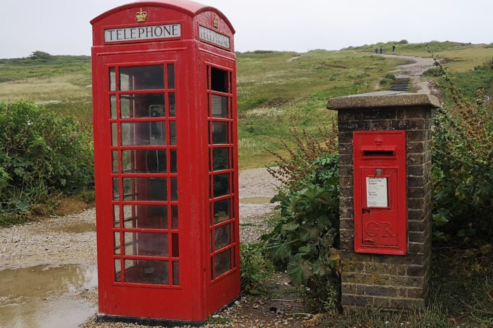 Red Post Box & Phone Box - Birling Gap