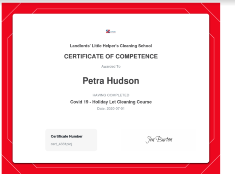 Petra our Housekeepers Certificate of Competence